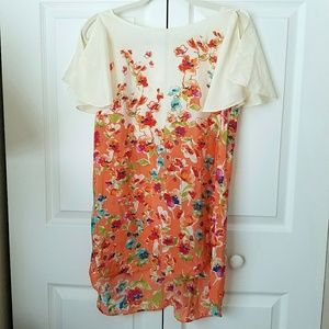 Anthropologie Maeve silk floral tunic shirt